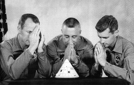 Parody crew picture of Apollo 1 astronauts expressing their concerns about the Apollo 1 spacecraft