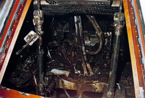 Apollo 1 Command Module showing extent of the damage caused by the catastrophic fire, resulting in the loss of the three Apollo 1 astronauts; Virgil Grissom, Edward White and Roger Chaffee.