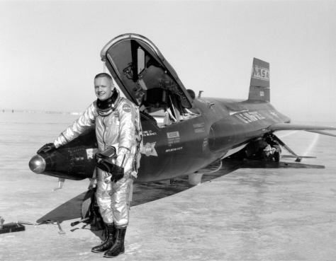 Neil Armstrong and X-15 rocket plane.