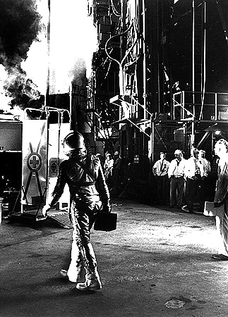 Alan Shepard arriving at Launch Complex 5.