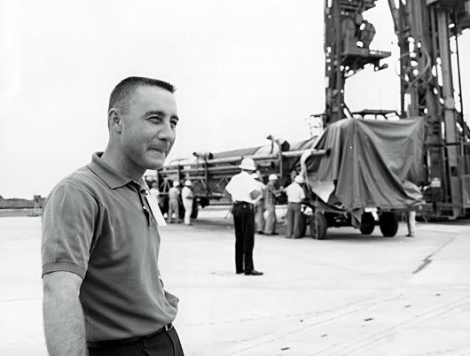 Virgil I. Grissom at Cape Canaveral Air Force Station, July 1961.