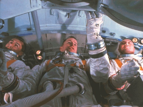 Apollo 1 crew during training in Command Module Flight Simulator.