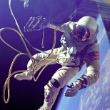 Gemini IV space walk. Astronaut Edward H. White photographed during his EVA.