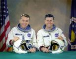The original Gemini 9 prime crew, astronauts Elliot M. See Jr. (left), command pilot, and Charles A. Bassett II, pilot.