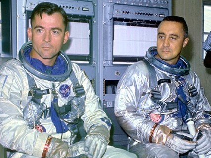 Virgil I. Grissom and John Young during training for their Gemini 3 mission.