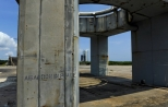 The now abandoned launch pedestal at LC-34.