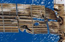 The damaged solar array of the Spektr module.
