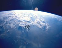 Russian Space Station Mir, backdropped against Earth