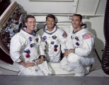 Official NASA crew photograph of the Apollo 7 crew.