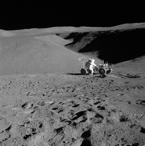 James Irwin and Lunar Rover at edge of Hadley Rille during Apollo 15 mission.