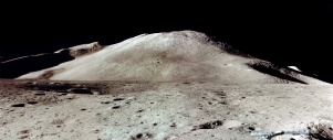 Apollo 15 Landing site with Mount Hadley Delta in the background.
