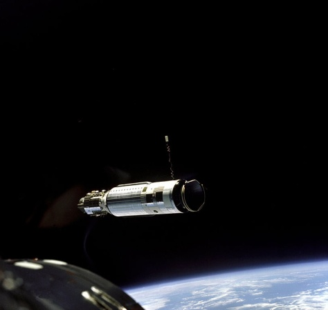Gemini 8 approaching Agena Docking Target in Earth orbit.