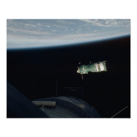 Soyuz spacecraft seen in Earth orbit from Apollo Command Module.